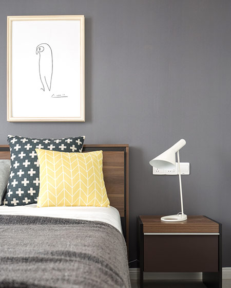 100平北欧风三居卧室装饰画图片图片