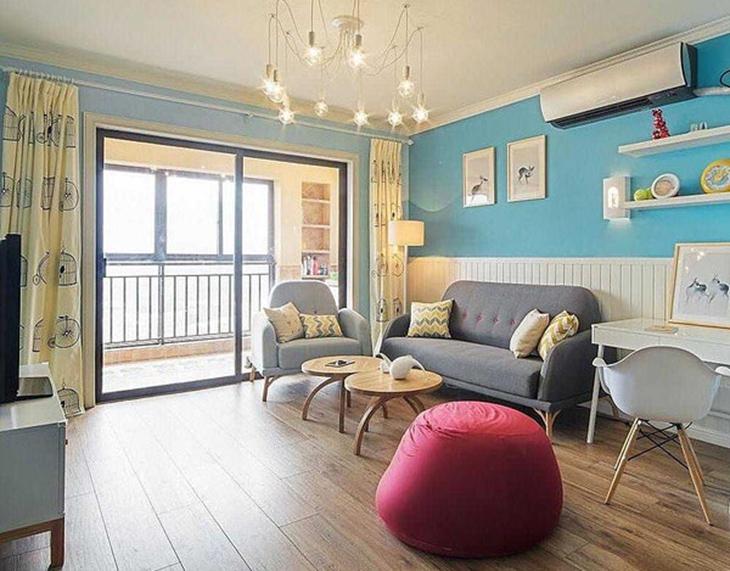清新天蓝色美式客厅效果图