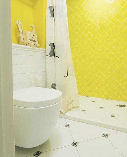 糖果色柠檬黄美式卫生间设计
