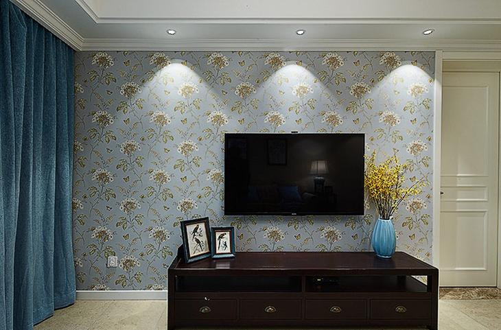 美式风格三居装修电视背景墙壁纸设计