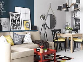 68平旧房改造公寓装修图 用色彩丰富生活