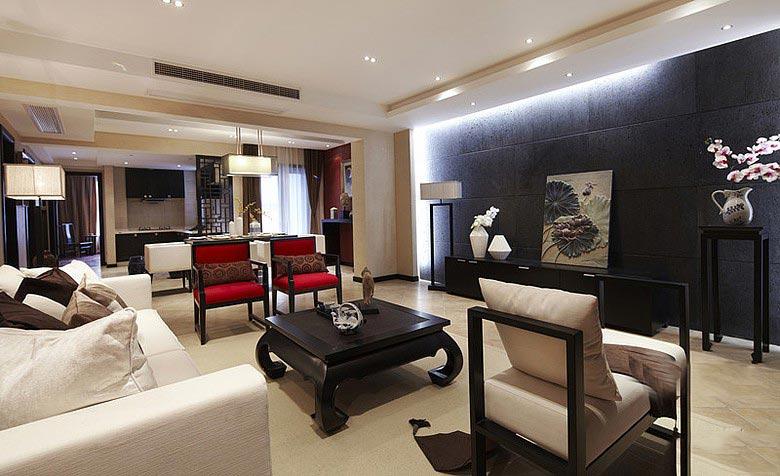 现代中式客厅 黑色背景墙设计