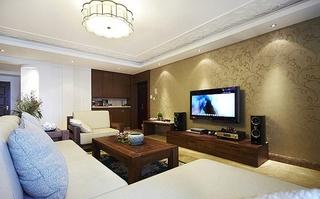 新中式客厅 金棕色壁纸电视背景墙设计