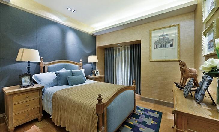 田园风格三居装修卧室地毯图片
