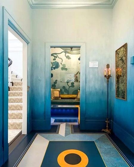 门厅渐变手绘背景墙图片