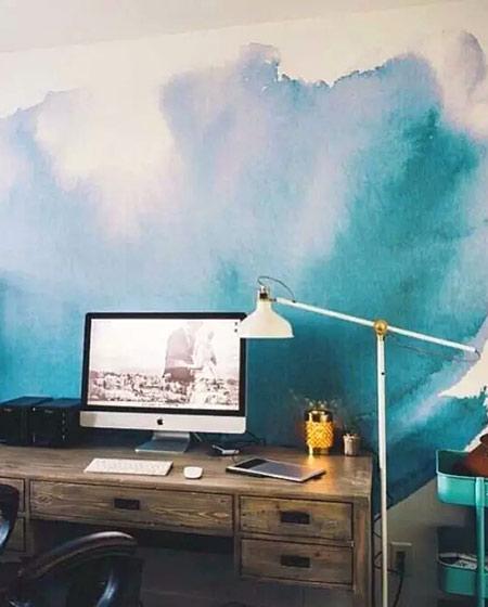 书房手绘背景墙装修图