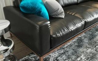 北欧风格公寓装修真皮沙发图片