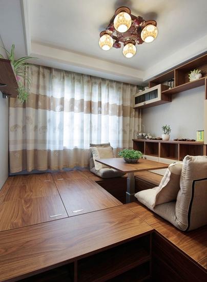 中式风格三室两厅装修榻榻米效果图