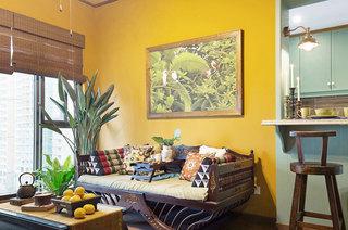 复古东南亚风客厅 黄色背景墙设计