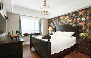古典美式卧室 花色背景墙效果图