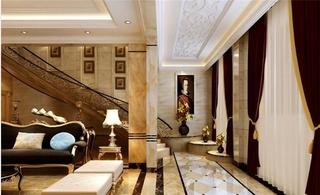 欧式风格大户型装修客厅隔断图片