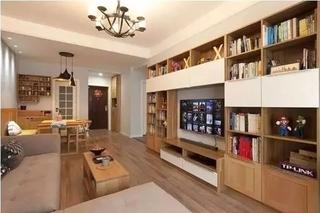 日式风格小户型装修电视背景墙收纳柜