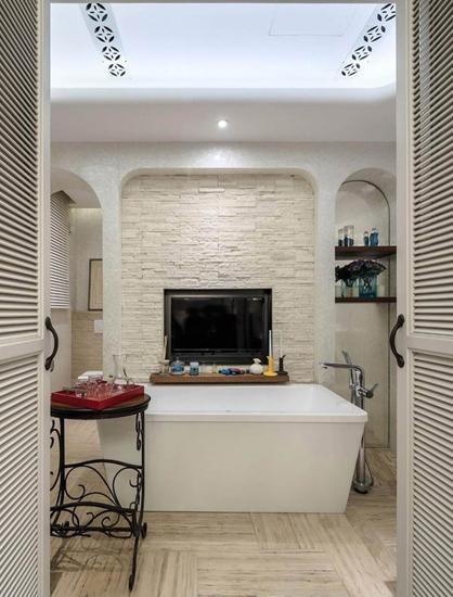 时尚简约风客厅 米色文化砖电视背景墙设计