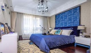清爽美式风格 蓝色卧室效果图