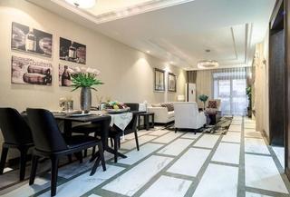 简约风格三室两厅装修实木餐桌图片