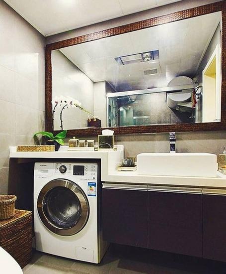 休闲美式卫生间 咖色系洗手台设计