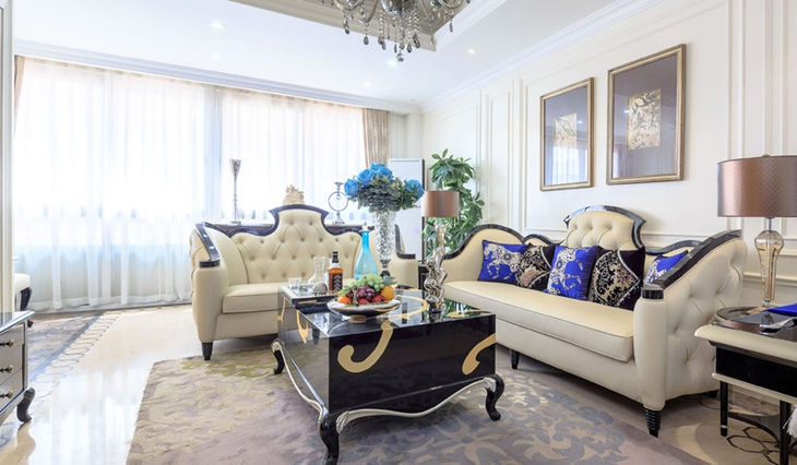 精致大户型装修 浪漫法式装修风格展示客厅设计图片