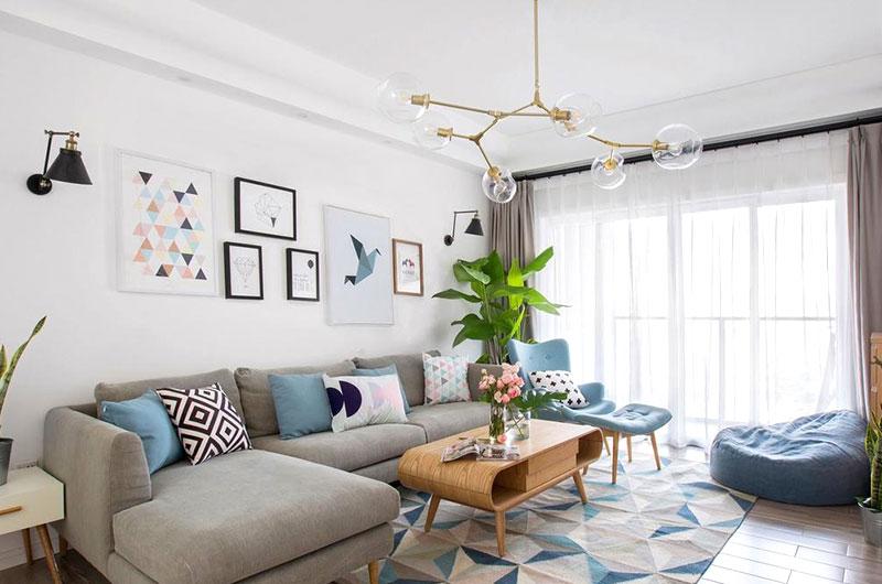 北欧风格三居室客厅装潢图