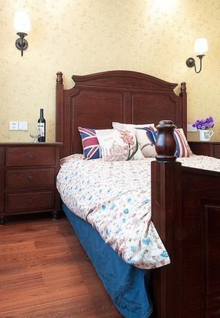 乡村休闲美式 卧室实木床效果图