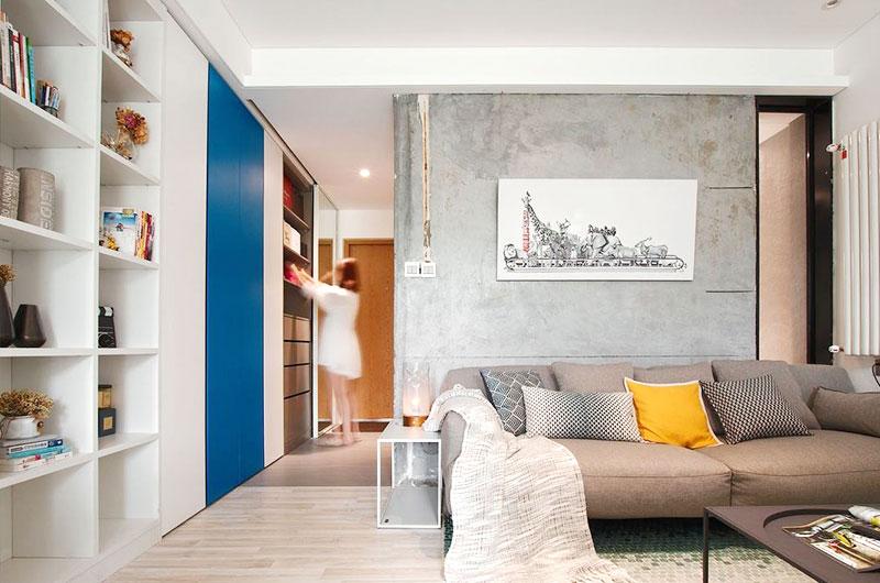 素雅宜家风客厅 水泥背景墙设计