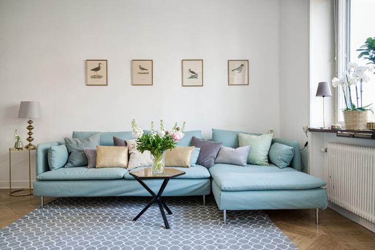 清新淡雅蓝色调  舒适北欧风格装修北欧风客厅