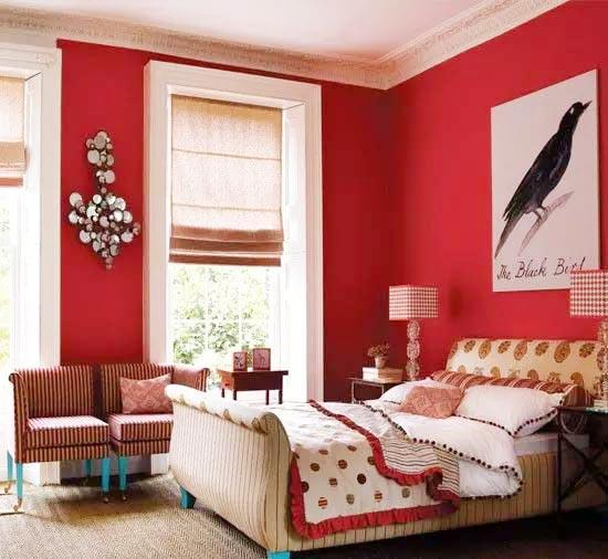 红色系卧室装修图片大全