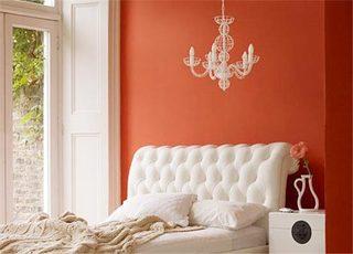 红色系卧室设计欣赏图