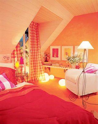红色系卧室装修图片