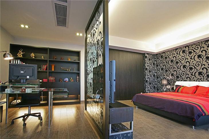 简约风格三居室装修 宜居&时尚的效果卧室隔断设计