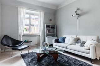 时尚简洁北欧风 浅灰色小客厅效果图
