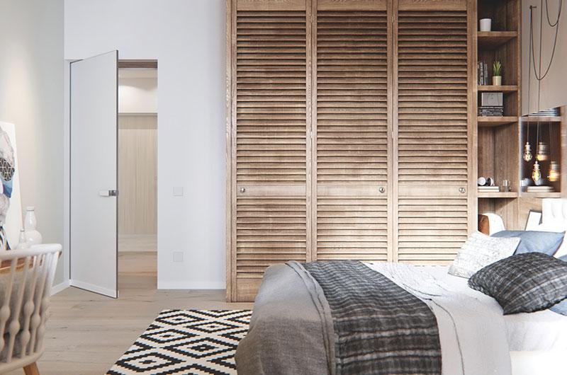 森系北欧风卧室 百叶推拉门衣柜设计