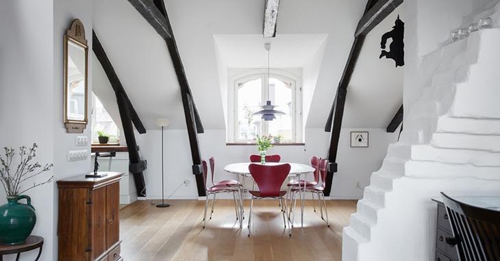 北欧风格阁楼餐厅装修图片