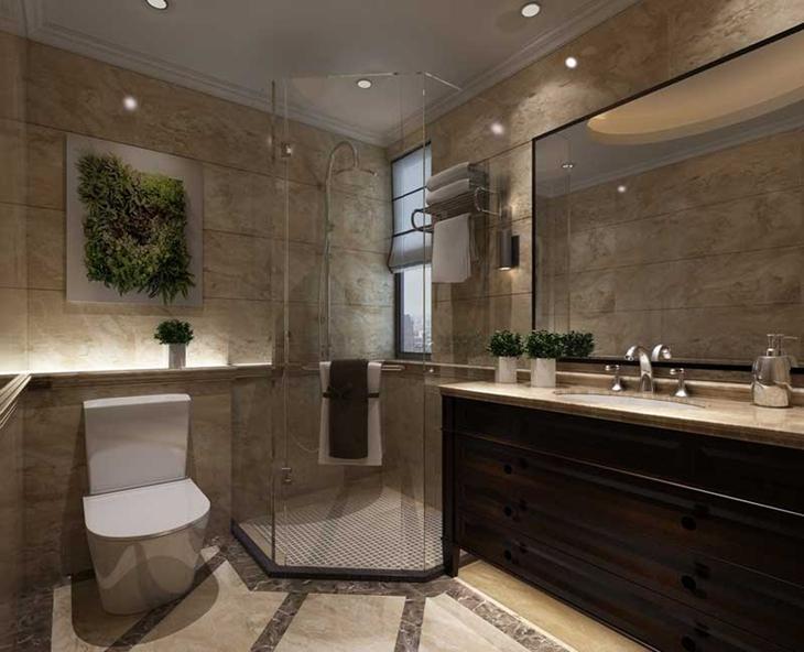 雅致新中式风格 装饰奢华三居室装修卫生间设计