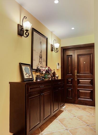 高端复古美式玄关 实木鞋柜设计