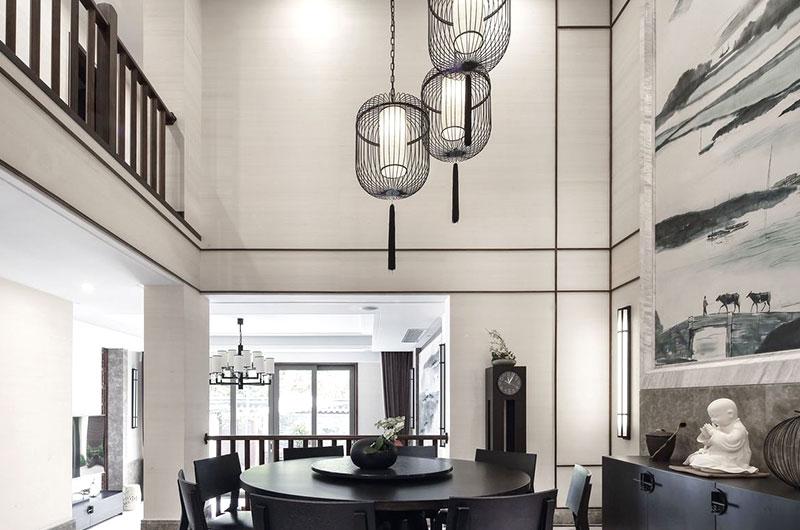 典雅中式别墅挑高餐厅效果图