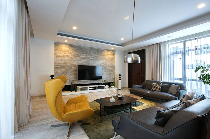 华丽现代风客厅 大理石背景墙设计