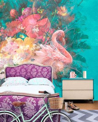 卧室花卉壁纸装修设计图