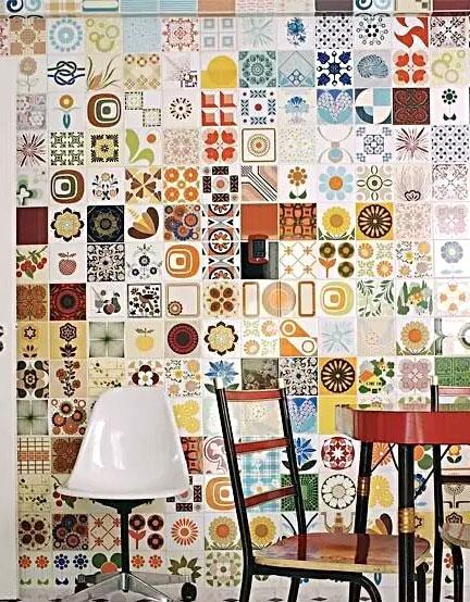 餐厅彩色瓷砖背景墙装潢图