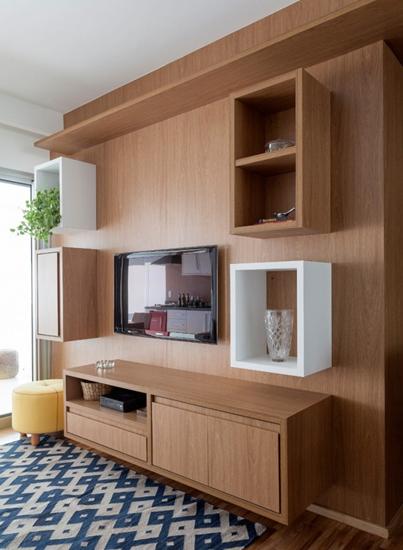 环保美式客厅 原木电视柜效果图
