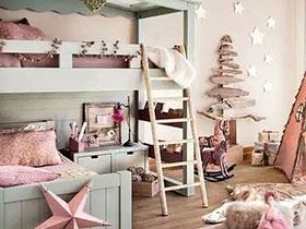 北欧风儿童房 彩色上下床效果图