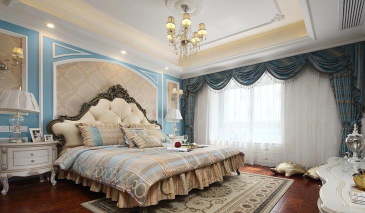 王者风范简欧风格装修 加入最有情怀的蓝色调主卧效果图片