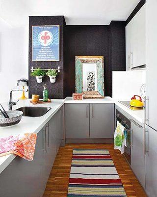 冷色调北欧风厨房 U型厨房平面图
