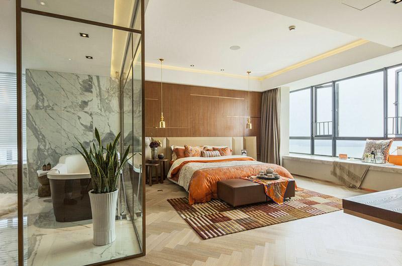 简约混搭风 主卧室带玻璃淋浴房设计