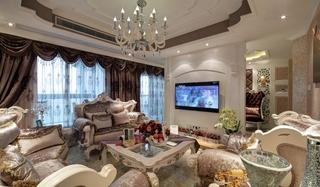 欧式风格三居室装修客厅沙发图片
