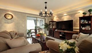 美式风格三居室客厅壁纸图片