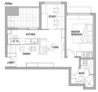 50㎡现代一居室公寓平面图