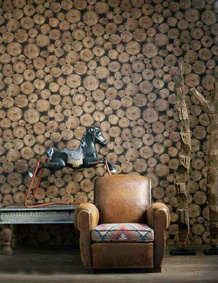 客厅复古壁布图片大全