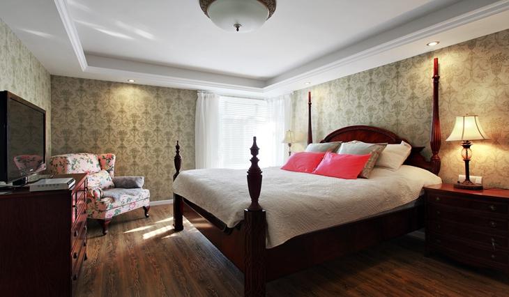 温馨美式田园风卧室效果图