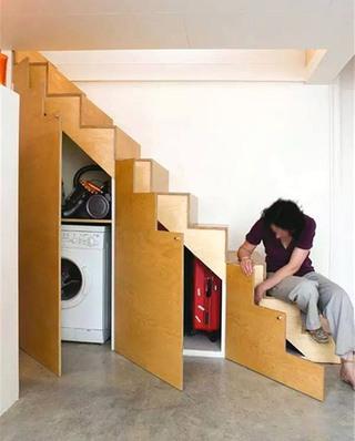 楼梯下实用收纳柜设计
