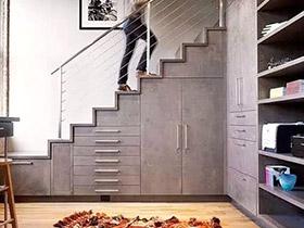 10个楼梯下收纳柜效果图 1㎡也要充分利用